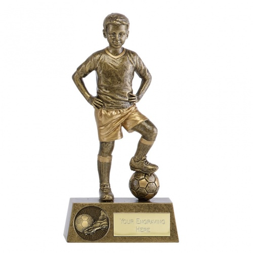 Football Boys Figure Trophy in Bronze & Gold