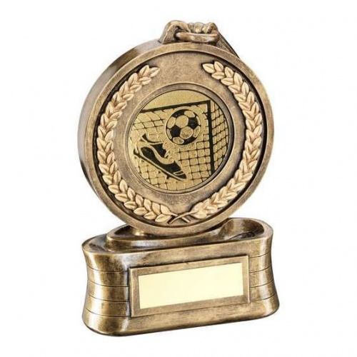 Football Medal Trophy in Bronze & Gold Resin