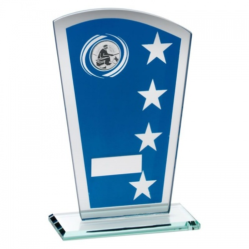 Fishing Celebration Blue & Silver Glass Shield