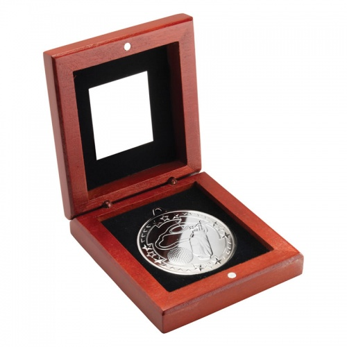 3.75in Silver Golf Medal In Wood Box