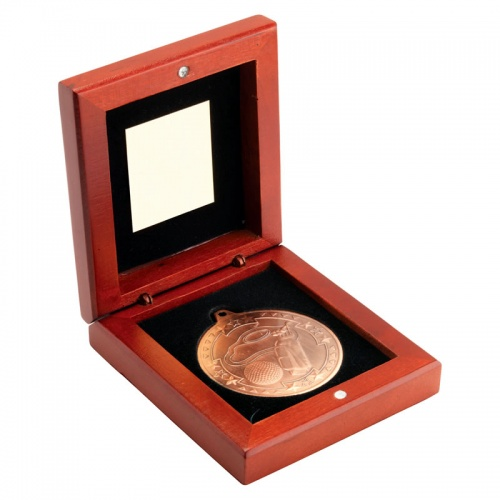 3.75in Bronze Golf Medal In Wood Box