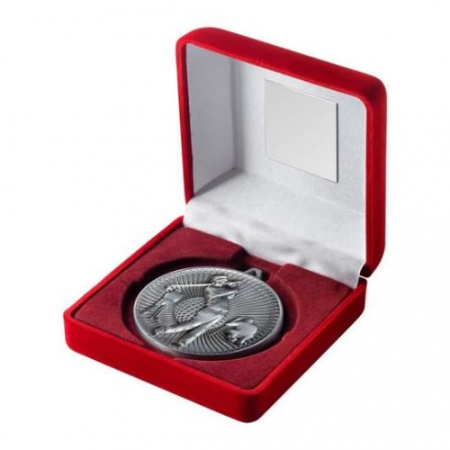 60mm Antique Silver Golf Medal in Case