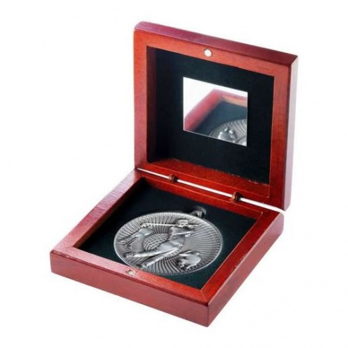 60mm Silver Golf Player Medal In Wood Box