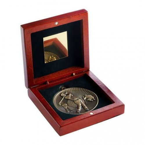 60mm Bronze Golf Player Medal In Wood Box