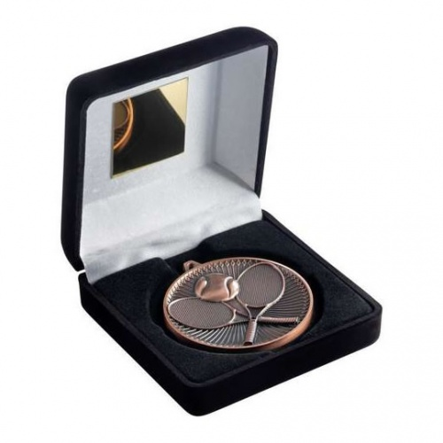 Tennis Bronze Medal in Black Presentation Case