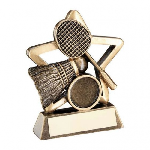 Badminton Mini Star Trophy in Bronze & Gold