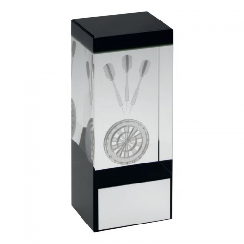 Clear & Black Glass Block with Darts Motif