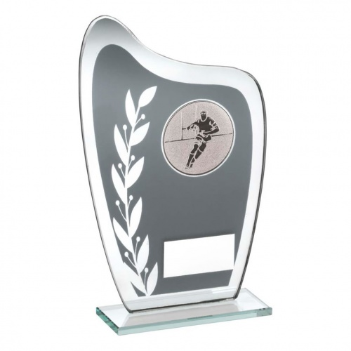 Rugby Grey & Silver Glass Plaque TD929