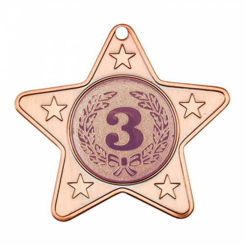 50mm Bronze Star Number Three Medal M10
