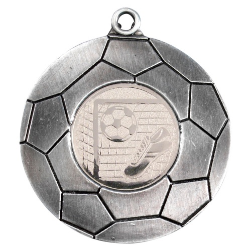 50mm Football Domed Medal in Antique Silver