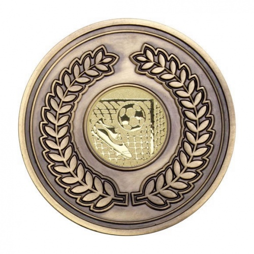 70mm Antique Gold Football Laurel Wreath Medal