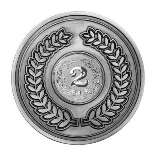 70mm Antique Silver 2nd Place Laurel Wreath Medal