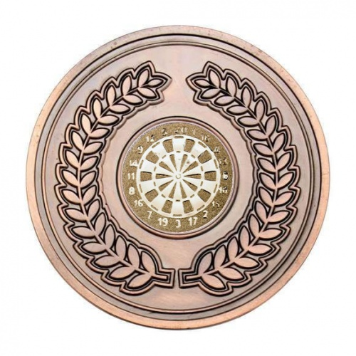 70mm Antique Bronze Darts Laurel Wreath Medal
