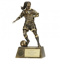 Engraved Womens Footballer Trophy A1201