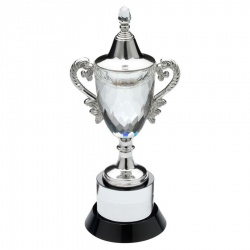 13in Clear & Black Glass Trophy Cup