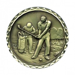 Gold Plated Golf Medal CEB361
