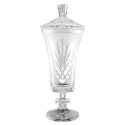 13.75in Lead Crystal Lidded Vase - Empire