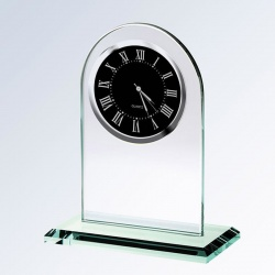 Jade Glass Arch Clock - Black