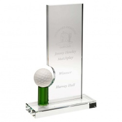 Clear & Green Glass Golf Plaque JB5003