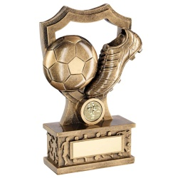 Football Ball & Boot with Shield on Plinth Trophy