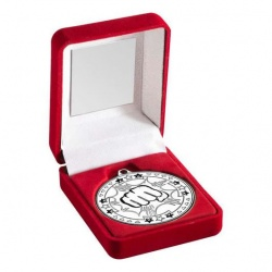 Silver Martial Arts Medal in Red Presentation Case