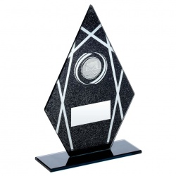 Hockey Peak Trophy Plaque in Black & Silver Glass