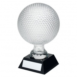Clear Glass Golf Ball Trophy on Black Base