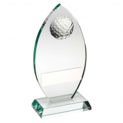 Oval Glass Plaque with Golf Ball