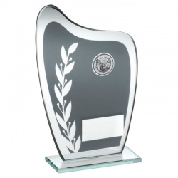 Glass Golf Trophy Plaque in Grey & Silver