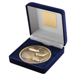 4in Gold Golf Medal In Blue Box