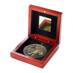 60mm Gold Golf Player Medal In Wood Box