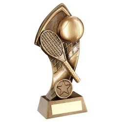 Resin Gold Tennis Trophy with Twisted Net Backdrop