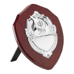 Wooden Awards Shield with Chrome Centre Plaque