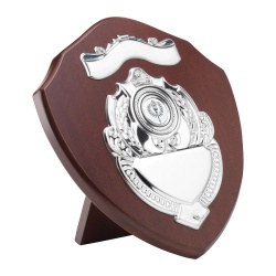 9in Wooden Awards Shield with Top Scroll