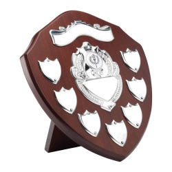 9in Wooden Awards Plaque with 7 Side Shields