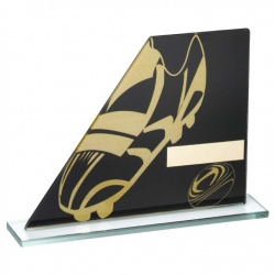 Rugby Black & Gold Glass Plaque Award