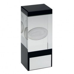 Clear & Black Glass Block with Rugby Motif