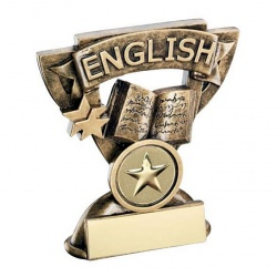 School English Trophy with Base Plaque
