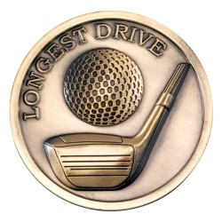 70mm Golf Longest Drive Medal in Antique Gold