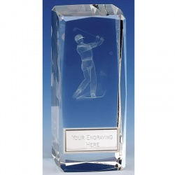 Clarity Male Golfer Crystal Block