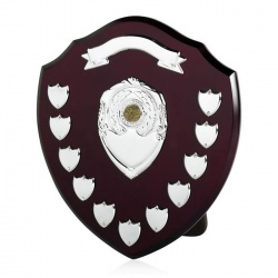14in Wood Awards Shield with 11 Side Shields