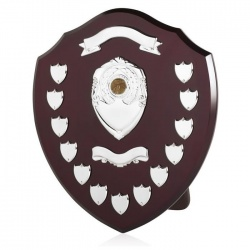 16in Wood Awards Shield with 11 Side Shields