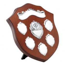 8in Wood Shield with Scroll, Plaque & 5 Side Shields