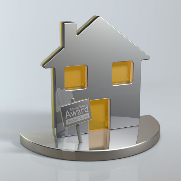 House shape trophy in aluminum and perspex