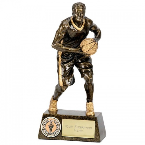 7.25in Bronze & Gold Male Basketball Figure Award
