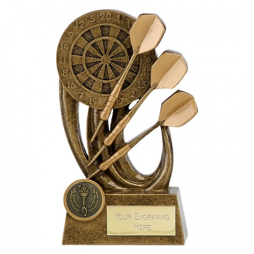 Darts Trophy in Bronze & Gold Finish 6.5in Tall