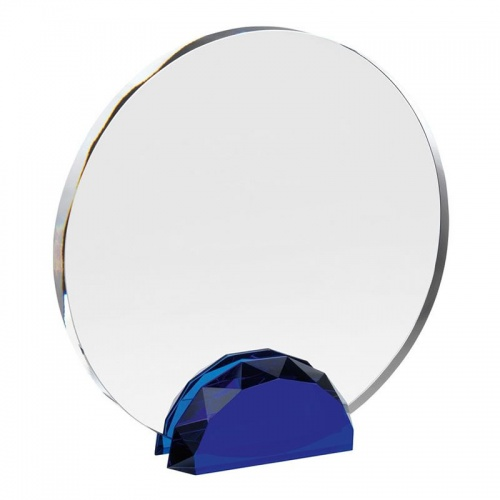 Clear & Blue Glass Circle Award AC133