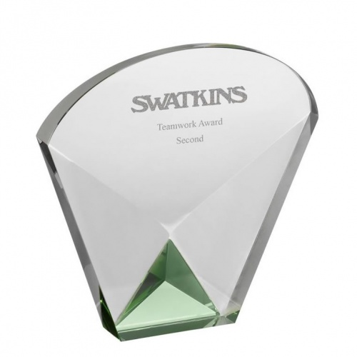 5.5in Green & Clear Arch Glass Award