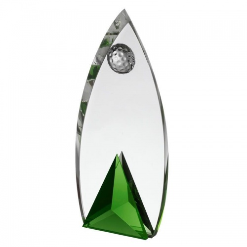 8in Green & Clear Glass Golf Award AC190