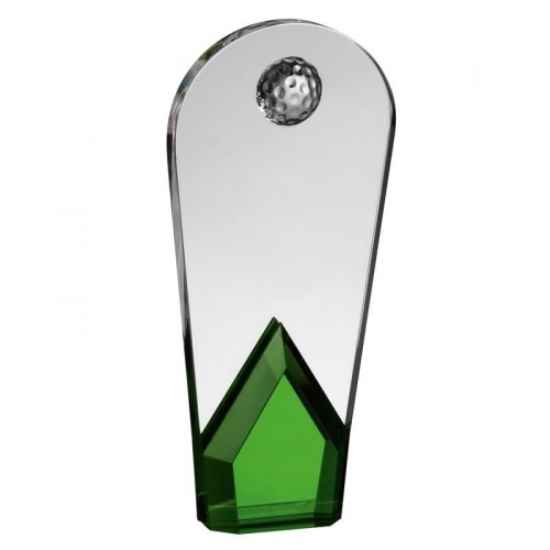 8in Clear & Green Glass Golf Award AC191